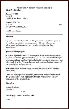 Analytical Chemist Resume Example - Analytical Chemist Resume ...
