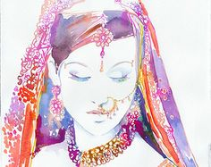 Watercolour Fashion Illustration by Cate Parr - Watercolor Indian Bride, Indian Fashion Print