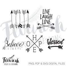 Hand Drawn Arrows with Sayings Digital Cut File by FlourishFiles
