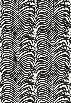 Zebra Palm Linen Print Schumacher Fabric #linen #black #palm
