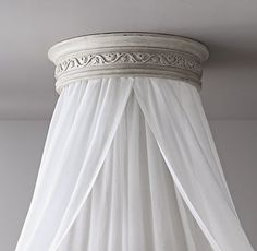 Vintage Grey Carved Wood Canopy Ceiling Bed Crown