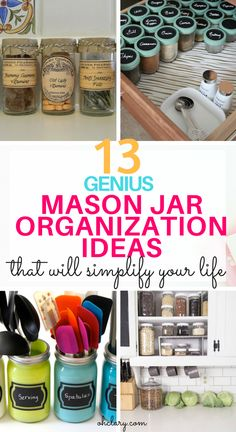 There are thousands of ways to use mason jars. today i am sharing with you my favorite diy mason jar organizer ideas to make your home look and feel Mason Jars, Mason Jar Bathroom, Mason Jar Crafts, Glass Jars, Diy Jars, Kitchen Desk Organization, Kitchen Pantry Organisers, Organization Hacks, Diy Design