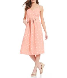 cc9fe9aced0 Joules Zoey Polka Dot Sleeveless Linen A-Line Midi Dress
