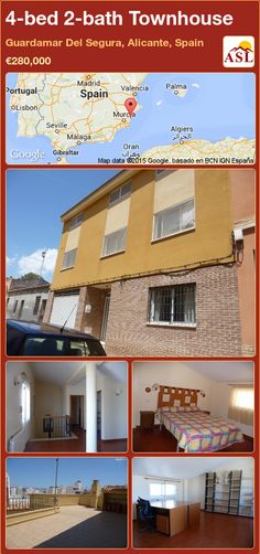 Townhouse for Sale in Guardamar Del Segura, Alicante, Spain with 4 bedrooms, 2 bathrooms - A Spanish Life Valencia, Portugal, Alicante Spain, Central Heating, Living Room With Fireplace, Mediterranean Sea, Townhouse, Terrace, Spanish
