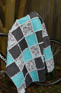 Bicycle Bike Rag Quilt Grey Black White Aqua by craftinjenn, $110.00