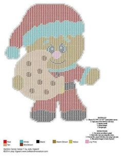Gingerbread Man Santa with cookie Plastic Canvas