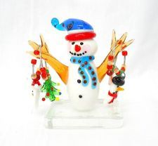 NEW Hand Blown Glass Snowman Christmas Figurine with 4 Holiday Wine Charms