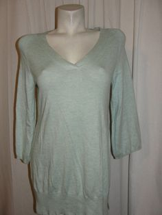 Chicos Sz 1 M 8/10 Blue Angora Rabbit Hair Blend V-neck Sweater Knit Top 3/4 Slv #Chicos #VNeck #CasualCareer