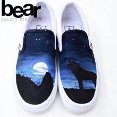 Custom Hand Painted Vans Shoes - Wolf, Moon, and Stars (these will be my shoes one day!) <3