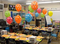 I have to do this for Back-to-School night! Super cute! I love the idea of sending them home with a balloon! Great website!
