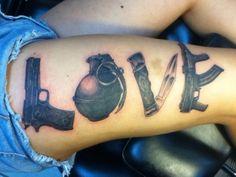 Love and War tattoo grenade, swtich blade, gun, black and grey by Thomas at California Tattoos in Savannah, GA. Old school vintage styled biker tattoos Biker Tattoos, Pin Up Tattoos, Badass Tattoos, Pretty Tattoos, Love Tattoos, Body Art Tattoos, Girl Tattoos, Awesome Tattoos, Gangster Tattoos