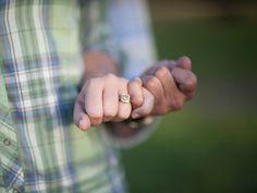 Gorgeous tinted diamond ring  & cute 'pinky promise' pose, photo by wearetheharmons.com