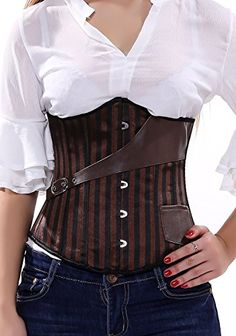 Blidece Fashion Faux Leather Steampunk Sexy Underbust Wai… Mad Hatter Halloween Costume, Hourglass Figure, Alternative Outfits, Lace Back, Night Out, Looks Great, Registered Trademark, Steampunk, Corsets