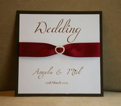 Luxurious Wedding Invitation by MemoriesShop.co.uk    Satin Ribbon & Swarovski Crystals, Luxury