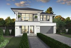 McDonald Jones Homes offers house designs for any lifestyle or life stage. Browse Australian homes to feel carefree every time you walk through the doors. Dream House Exterior, Dream House Plans, House With Balcony, Brighton Houses, Facade House, House Facades, Hamptons House, Story House, House Front
