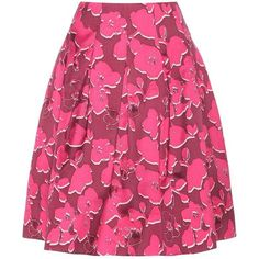 Oscar de la Renta Printed Silk-Blend Skirt ($1,715) ❤ liked on Polyvore featuring skirts, oscar de la renta skirts, oscar de la renta and pink skirt