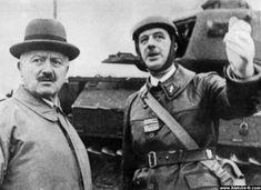 Le colonel de Gaulle (à droite) aux côté du président Lebrun (à gauche).