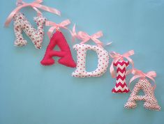 Pink fuchsia white ribbon bow fabric letters girl's room