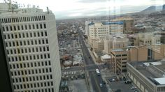 My hubbies view of downtown ABQ.