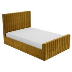 Khloe Velvet Double Ottoman Bed in Mustard Yellow | Furniture123