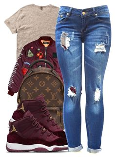 A fashion look from March 2017 featuring brown top, maroon bomber jacket and distressed boyfriend jeans. Browse and shop related looks. Lit Outfits, Jordan Outfits, Outfits With Converse, Cute Swag Outfits, Chill Outfits, Dope Outfits, Teen Fashion Outfits, Dope Fashion, Black Girl Fashion