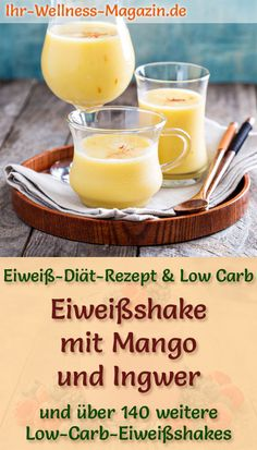 Make your own protein shake mango ginger - a healthy low-carb diet recipe for protein-rich breakfast smoothies and protein shakes for weight loss - with curd cheese and coconut milk, without sugar, low-calorie, healthy . Fruit Smoothie Recipes, Protein Shake Recipes, Protein Shakes, Protein Rich Breakfast, Breakfast Smoothies, Low Carb Smoothies, Apple Smoothies, Low Carb Protein, Protein Foods