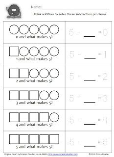 Classroom Freebies: Think Addition for Subtraction