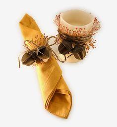 Needles 'n' Knowledge: Fringe & Acorn Candle Wrap & Napkin Ring
