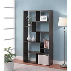 8 Shelf Wood Bookcase Maximum Storage Organizer Display Bookshelf Collectibles  #Mainstays #Contemporary