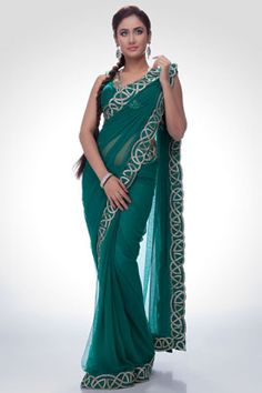 Green saree with golden and silver embroidery | Satya Paul