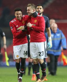 Jesse Lingard and Luke Shaw of Manchester United celebrate after the Emirates FA Cup Third Round match between Manchester United and Derby County at...