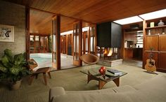 Indoor pool, doors, wood ceiling, fireplace.  I love everything about this. Art Troutner, architect, Boise, Idaho.