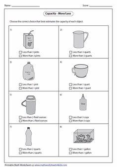 capacity of smaller object metric units math pinterest worksheets worksheets for grade 3. Black Bedroom Furniture Sets. Home Design Ideas