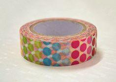 Japanese Washi Tape Rice Paper Tape Masking Tape - Rainbow Dots(10m)