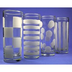 Graphic Effect Tall Glasses. Personalize your tall glasses with different designs, using your preferred etching method. So many possibilities with this project.   http://www.etchtalk.com/Item/graphic-effect-tall-glasses