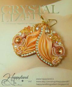 Peach&Light , shibori earrings with Swarovski