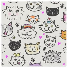 #Whimsical Cat Faces Pattern Fabric - #Petgifts #Pet #Gifts #giftideas #giftidea #petlovers