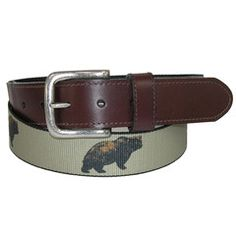 """Woolrich 1 3/8"""" Novelty Pattern Belt with Leather Tabs"""