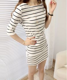 2015 spring new women ๏ splicing sleeve round neck cotton dress casual ② wear  black and white stripes dress 2015 spring new women splicing sleeve round  ... 3926fde6b70a