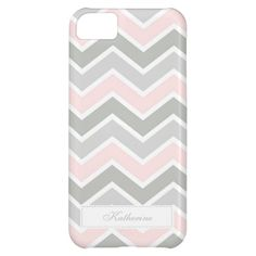 Pink and Gray Zigzag Chevron Pattern iPhone 5C Cases