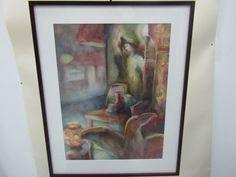 "Framed Beth Spiegel Water Color on Paper Titled ""Night Watch"" | eBay"