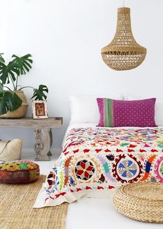 Moodle Design Suzani Acorn Throw! Our little vintage kantha floor cushions and vibrant kantha pillow cover!