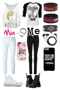 """""""Me and Mia"""" by sup-its-alex-peace ❤ liked on Polyvore featuring J Brand, Converse, Paige Denim, Retrò, Dr. Martens, Nicole Miller, Sennheiser and Casetify"""