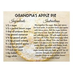 Shop Grandma's Apple Pie Day Recipe Card created by TimefortheHolidays. Personalize it with photos & text or purchase as is! Apple Pie Recipes, Apple Desserts, Old Recipes, Vintage Recipes, Cooking Recipes, Apple Pies, Apple Pie Recipe Easy, Yummy Recipes, Dessert