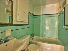 Turquoise Tile, Witch House, Vintage Bathrooms, Wood Detail, Old House Dreams, Corner Bathtub, Cottage Style, Vintage Kitchen, Old Houses