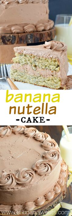 Sweet Banana Layer Cake with a creamy Nutella buttercream frosting! Your family will LOVE this recipe!