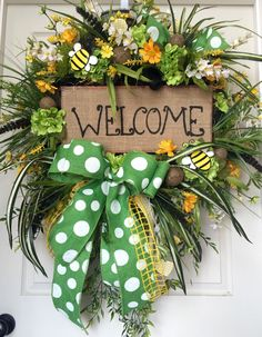 Welcome Burlap Bumble Bee Premium Mesh Spring and Summer Wreath by WilliamsFloral on Etsy https://www.etsy.com/listing/229303483/welcome-burlap-bumble-bee-premium-mesh