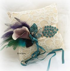 Almohada anillo de boda pavo real Cerceta púrpura oro por SolBijou