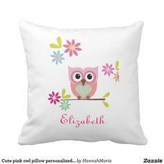 Cute pink owl pillow personalized name