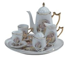 Furniture Toys 12 Toy 17 Pcs Flower Pattern Porcelaine Tea Set Independent Dollhouse Miniature 1